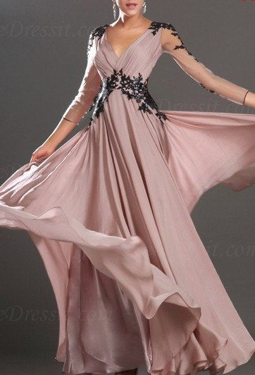2013 Hot Long Sleeves With Lace Evening Dress Prom Ball Gown on Etsy, $198.00