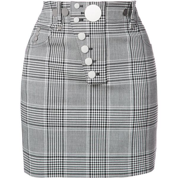 Alexander Wang check button skirt ($840) ❤ liked on Polyvore featuring skirts, mini skirts, black, checked skirt, short skirts, checkerboard skirt, checkered mini skirt and checkered skirt