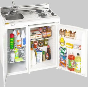 36 Inch Mini Kitchens Sink-Range-Fridge COMBINED into one small kitchen center...So cute but I think it would make more sense if it included a cutting board customized to fit over the sink for additional prep area.