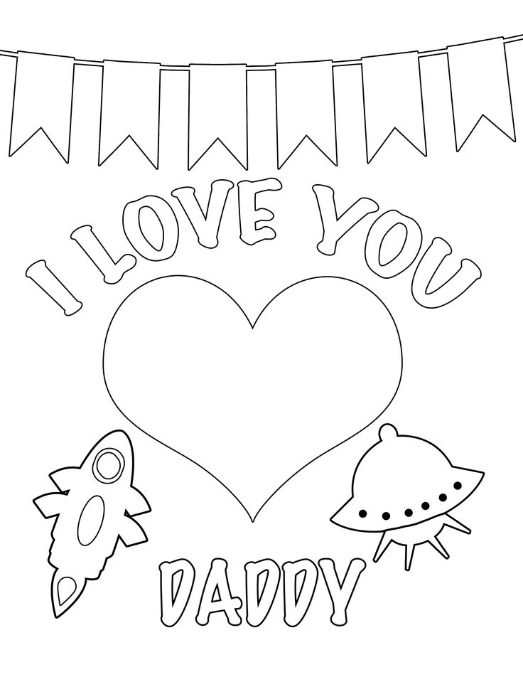 Happy Valentines Daddy Coloring Page