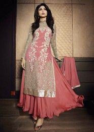 Party Wear Net Pink Antique Work Gown