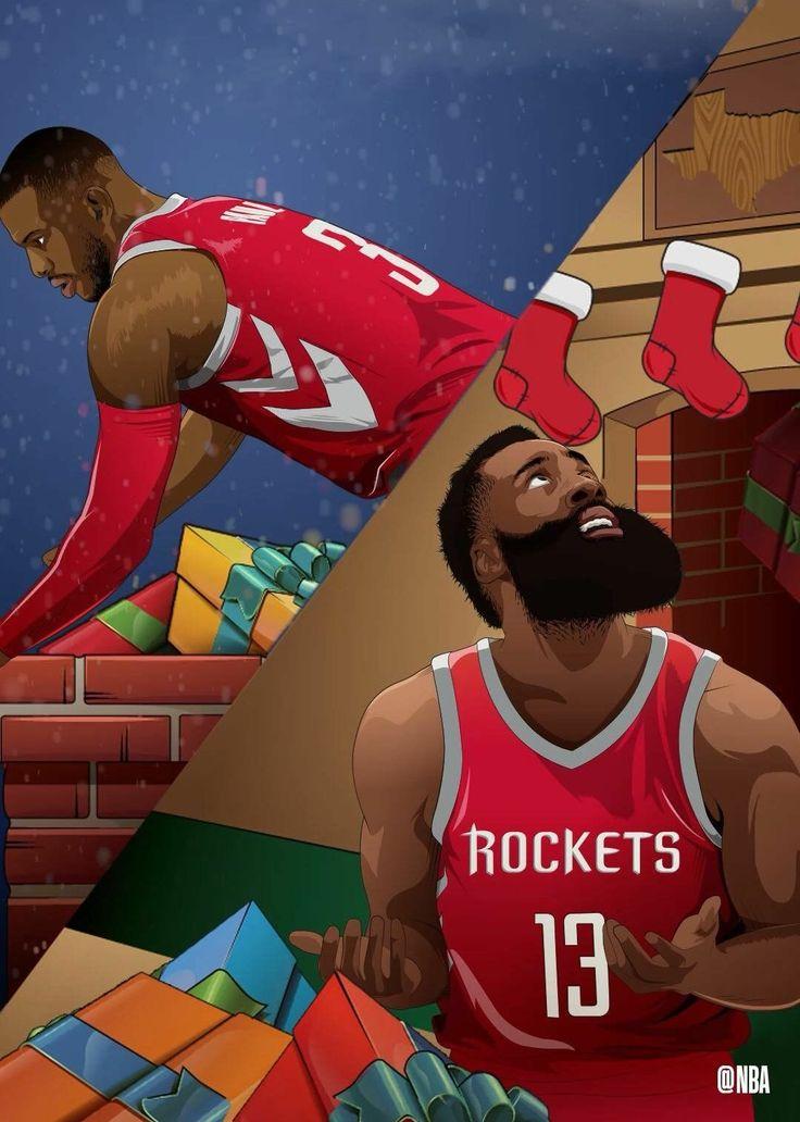 Chris Paul and James Harden Houston Rockets Christmas edit