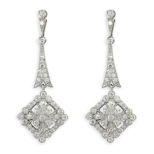 Silver Earrings Art Deco Style Drop Earrings 925 by caraebela