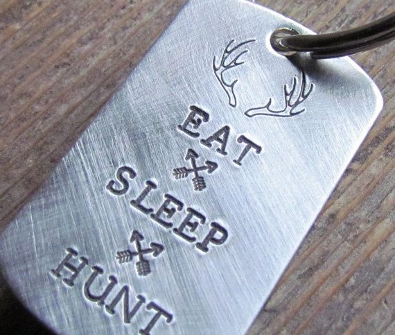 Mens Key Chain Eat Sleep Hunt Key Chain Metal Dog Tag Hand Stamped Gift For Dad Hunters Outdoorsman Antler Deer