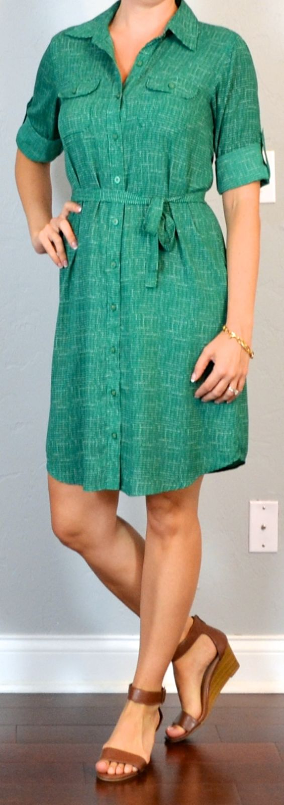 Outfit Posts: outfit post: green shirt dress, brown wedge sandals
