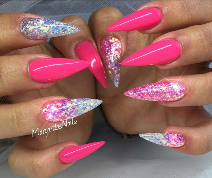 Neon pink glitter nails