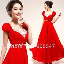 Puff red diamanti spalla parola brindisi di nozze abito da sposa abito da sposa abito da sera lungo tratto 1927(China (Mainland))