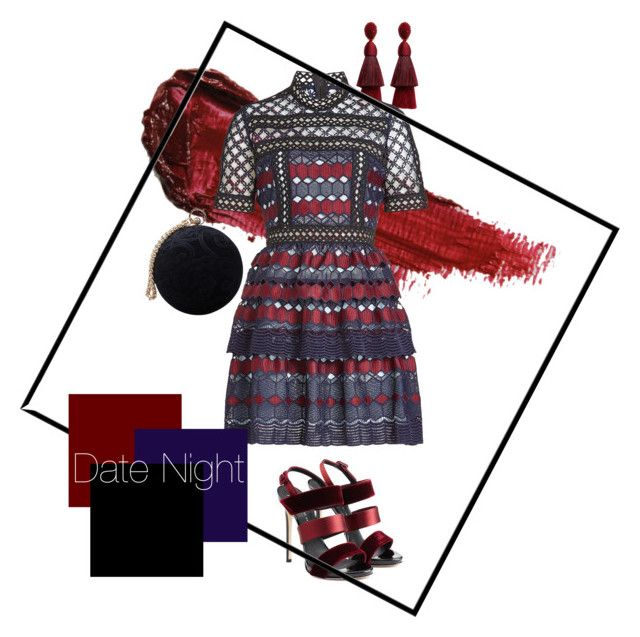 Date Night by karen-poonoosamy on Polyvore featuring polyvore, fashion, style, self-portrait, Giuseppe Zanotti, Carvela, Oscar de la Renta, By Terry and clothing