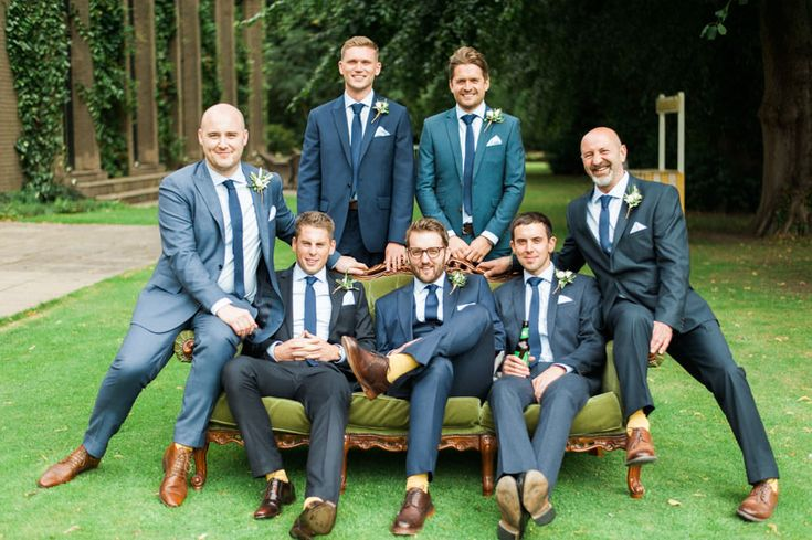 Groomsmen in mis-match Navy Suits | Rise Hall in Yorkshire | English Country Garden Wedding | Illusion Back Annais Bridal 'Cecelia' Wedding Dress | Ashlee Taylor Barnes Photography | http://www.rockmywedding.co.uk/emma-james/