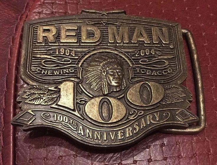 Red Man 100Th Anniversary Centennial 2004 Chewing Tobacco 1904 Brass Belt Buckle  | eBay