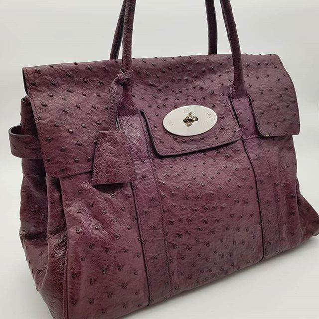 2 000 Wire Preloved Mulberry Bayswater Tote Burgundy Ostrich Silver Hardware Measuring 36cm By 24cm By 15cm Bag Only Bayswater Tote Mulberry Bayswater Bags