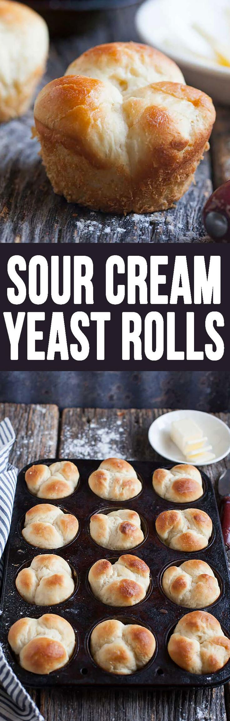 Sour Cream Yeast Rolls are perfect to go with your soup all Fall long, as well as the best side at Thanksgiving dinner!