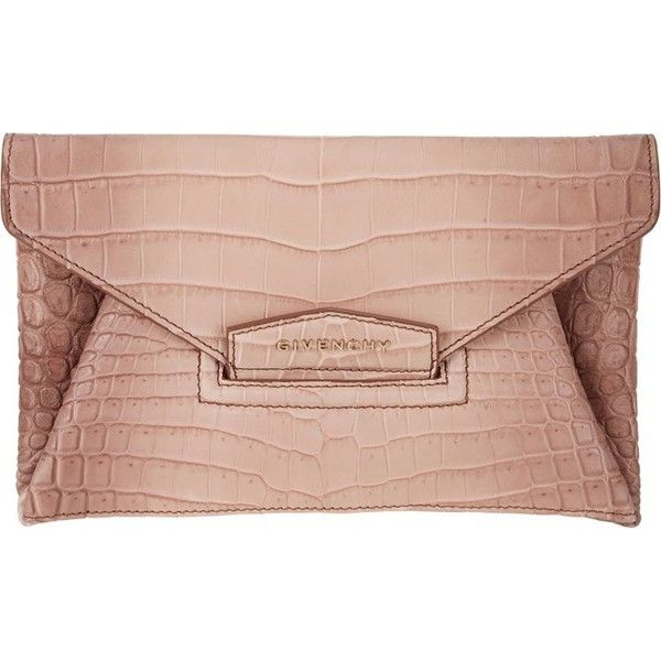 Givenchy Crocodile Small Antigona Envelope Clutch ($5,189) ❤ liked on Polyvore featuring bags, handbags, clutches, pink, croc purse, croco handbags, envelope clutch bag, crocodile embossed handbags e givenchy
