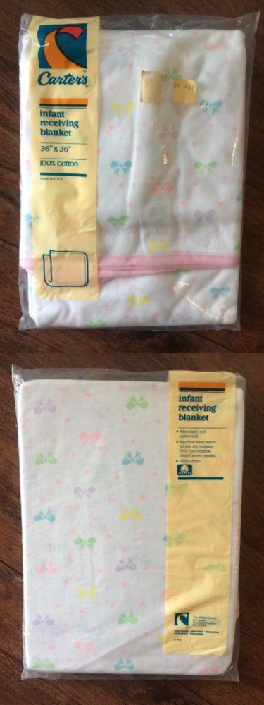 Blankets and Throws 3081: Vtg Carters White Baby Blanket Cotton Pastel Pink Green Blue Yellow Bow Nip -> BUY IT NOW ONLY: $37.5 on eBay!