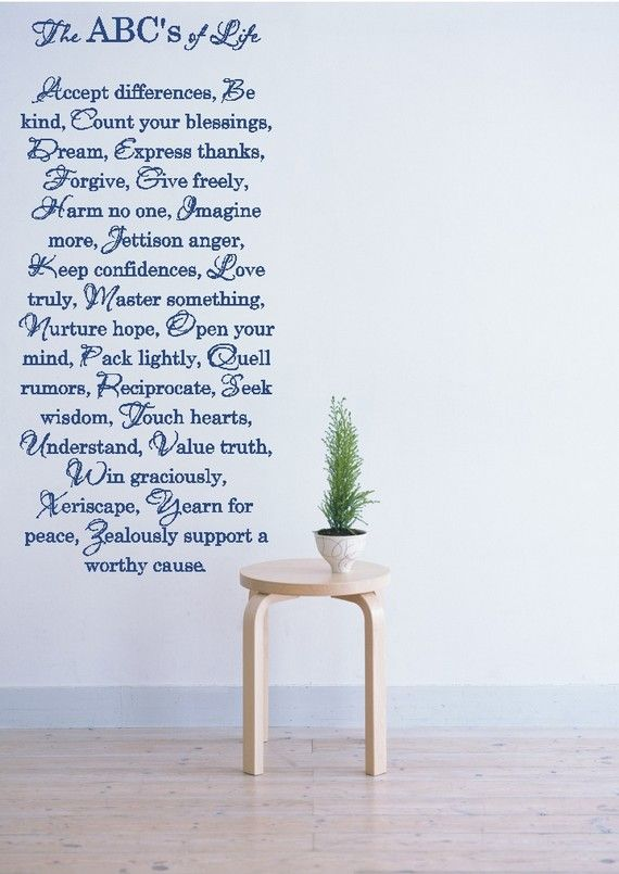 The ABC's of Life  Vinyl Wall Art Decal by VisionsInVinyl on Etsy, $55.00