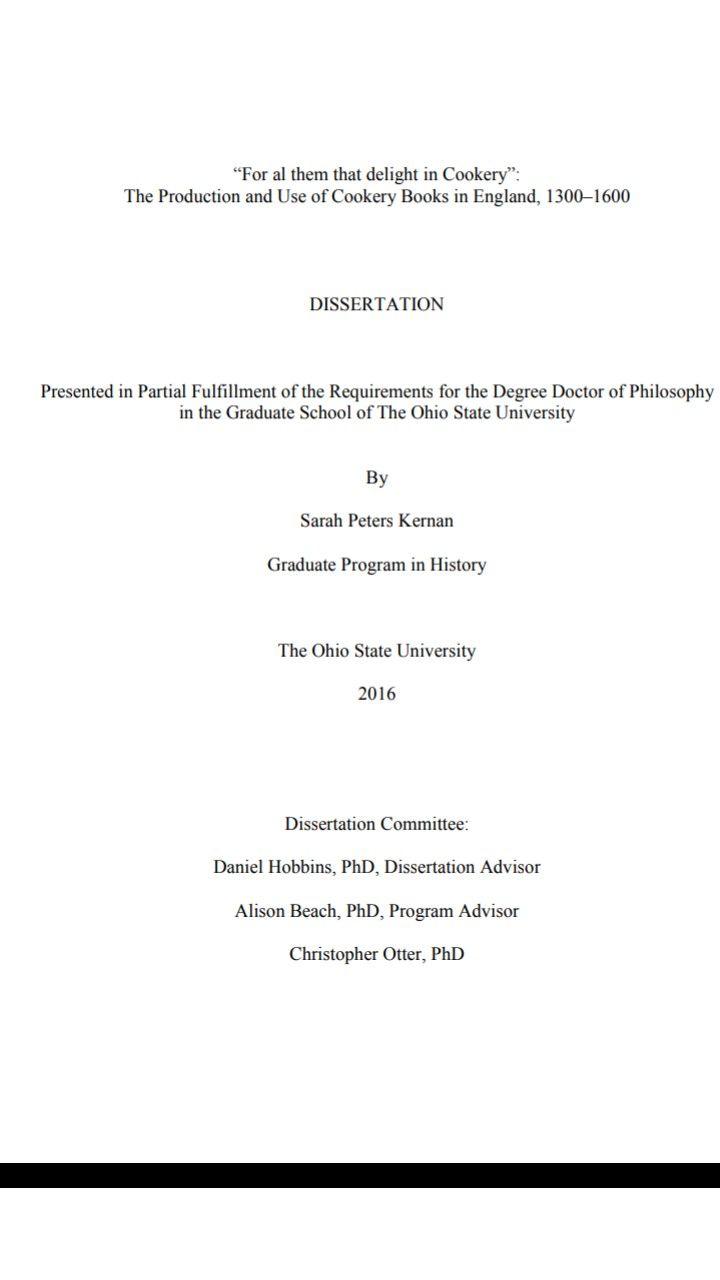 Medieval Cookery Book Dissertation Graduate Program The Ohio State University Dissertations