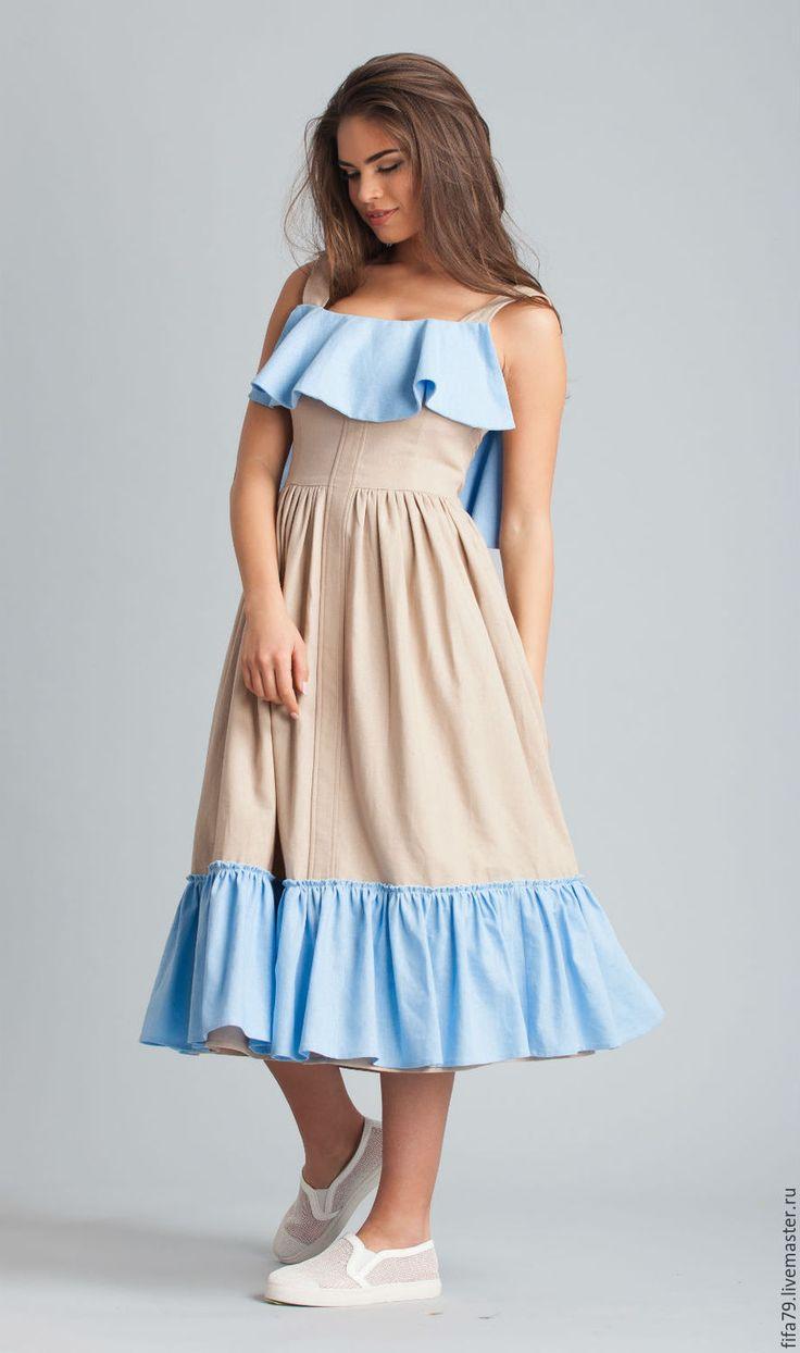 Купить Льняной Летний Сарафан - бежевый, льняной сарафан, льняное платье, длинное платье