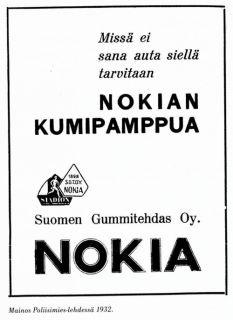 Nokia. Mainos Poliisimies -lehdessä 1932. http://hopeapeili.blogspot.fi/