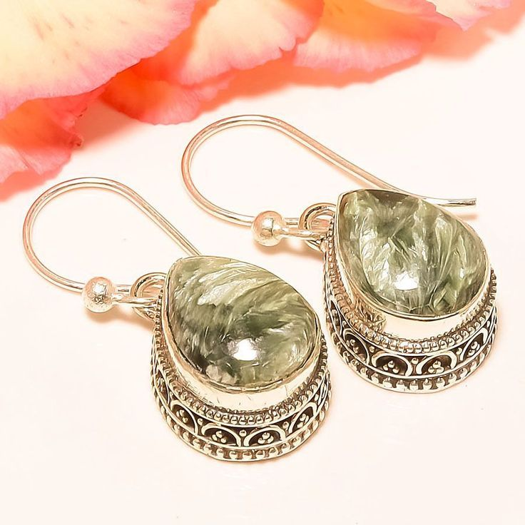 "Russian Seraphinite Vintage Style 925 Sterling Silver Jewelry Earring 1.42"" #Handmade #DropDangle"