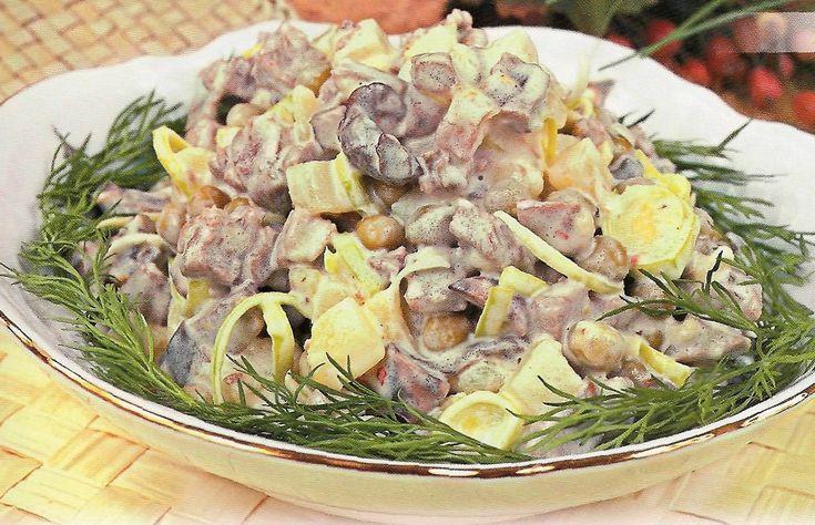Салат с мясом и грибами очень вкусный салат который  можно приготовить и на праздник.