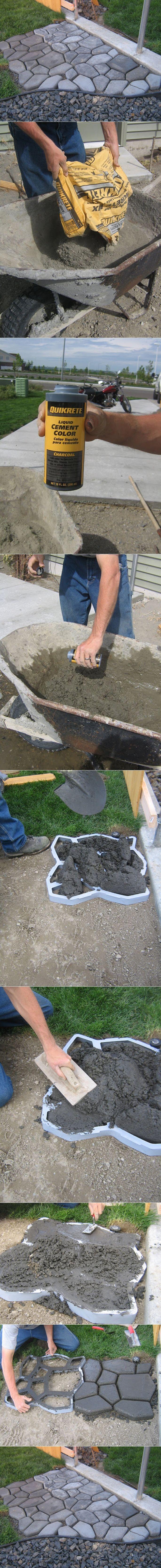 DIY Concrete Cobblestone Path