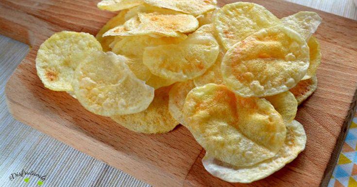 Patatas+chips+al+microondas+(SIN+ACEITE,+sólo+2+ingredientes)