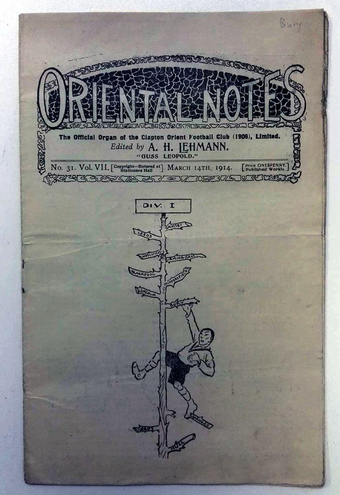Clapton Orient v Bury FC 14th March 1914 programme