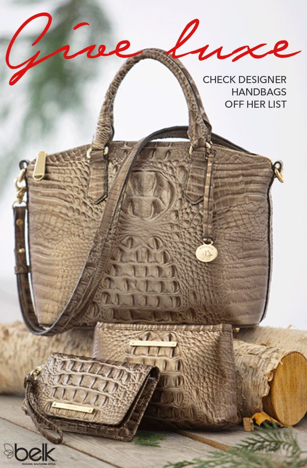 At the top of her luxe list? Designer handbags from her favorite brands. Leather handbags and leather purses with all the luxurious details she loves will wow her Christmas morning. Satchels, totes, saddlebags and minibags with fringe, tassels, skin prints, zips and patent details she'll want to carry every day. Play Santa! Get her a designer handbag in-store or online at belk.com.