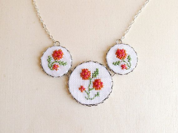 Embroidered floral necklace with silver toned findings by skrynka, $29.00