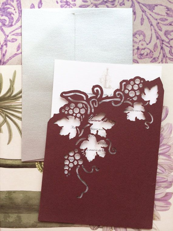 Wedding Invitation lasercut Vineyard and grapes by CelineDesigns