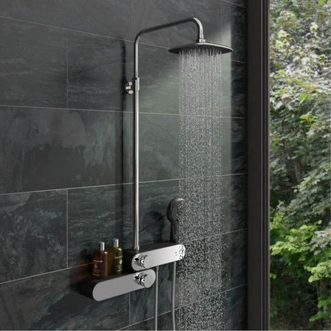 Chime Oval Shower Riser Rail Kit Black | VictoriaPlum.com