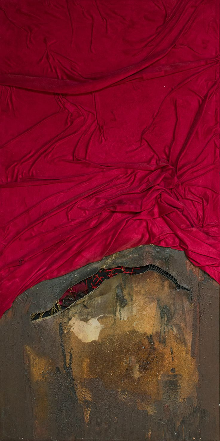 """Secret of intimacy"", 120x60cm, 2012, acryl, red curtain, resin on canvas. You can buy it on: http://korpyta.com , Author: Anna Korpyta #hole #informel #secret #intimacy #painting #abstract #abstractpainting"