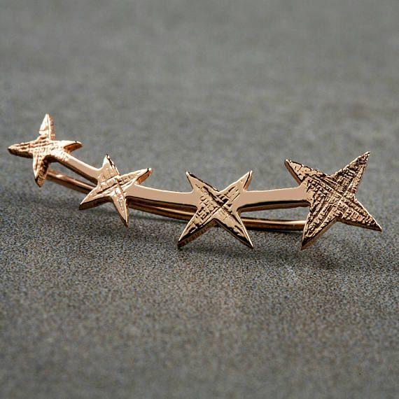 Stars Ear Ορειβάτες Τέσσερα αστέρια σκουλαρίκι στο αυτί Cuffs925 Silver