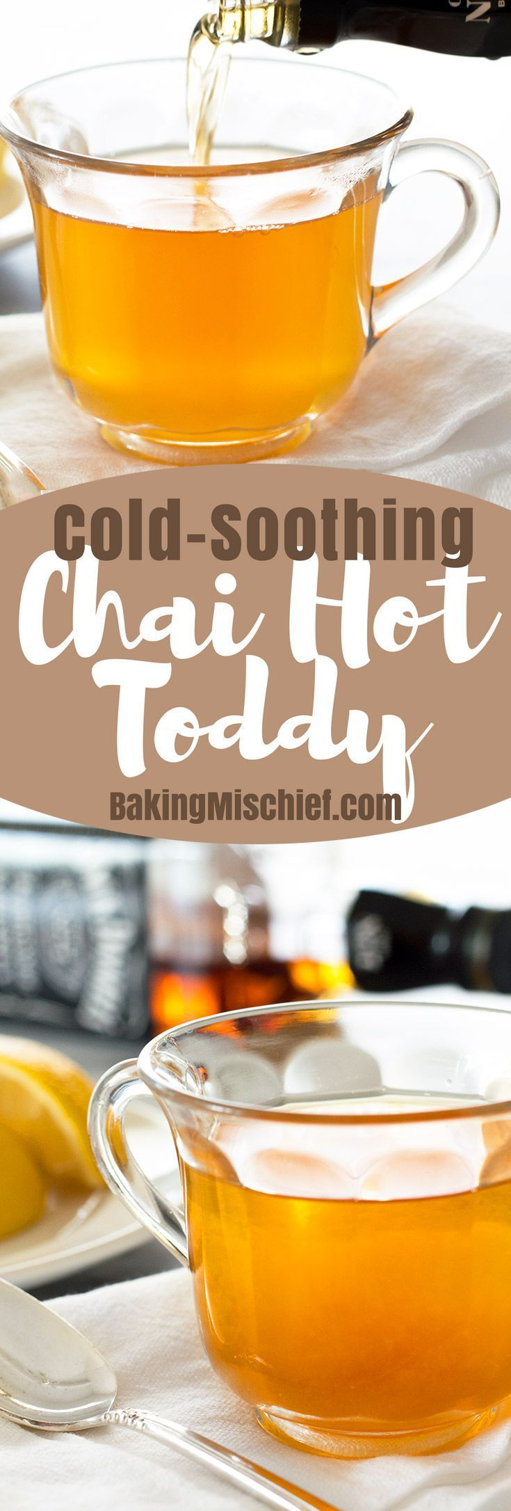 When you're sick, try a Chai Hot Toddy to ease some of your cold symptoms. The lemon and honey should help soothe your throat and loosen congestion, and if all else fails, it's hot, tastes good, and has alcohol. ;) From http://BakingMischief.com