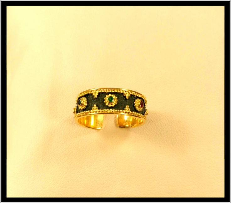 gold handmade ring with precious stones 18k