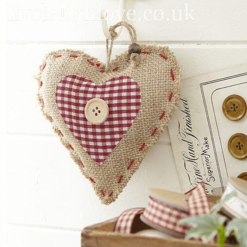Coeur esprit country: tissu vichy rouge et lin