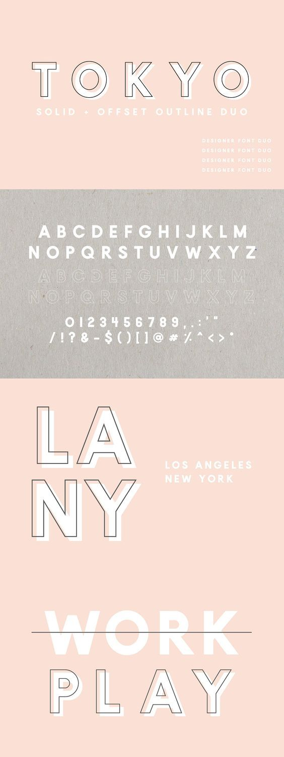Tokyo is a bold sans serif font duo with both solid and outlined font files. The outline font automatically offsets, making it really simple to layer these fonts together perfectly