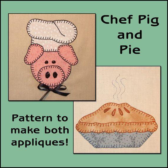 pig applique template, pie applique template, kitchen applique template