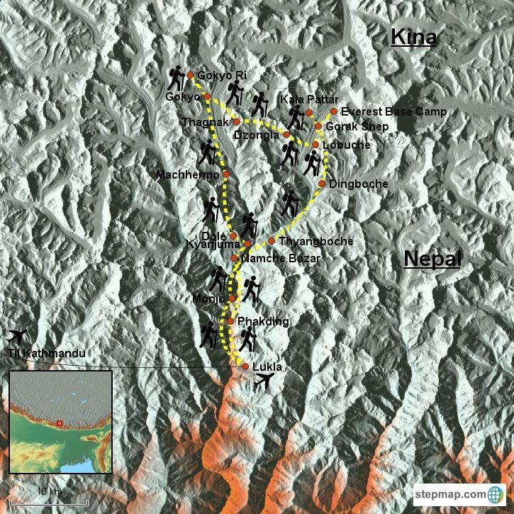Klassisk vandretur og tehustrek i Nepal til Everest Base Camp. Nyd de sublime udsigter over Himalaya. Se dag-til-dag program, kort, billeder og bestil online