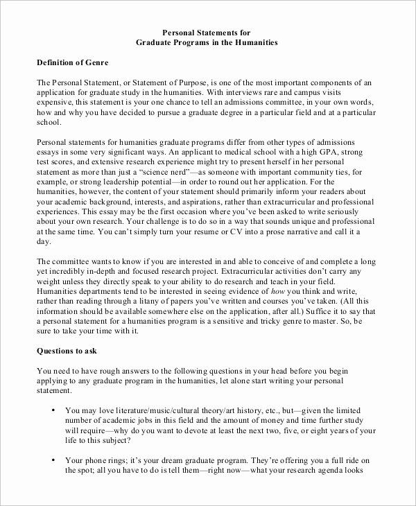 Personal History Statement Examples Lovely Personal Statement Sample History Personal Statem In 2021 Personal History Statement Personal Statement Statement Of Purpose