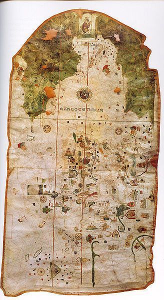 The oldest known map of the New World, by Juan de la Cosa, who sailed with Columbus. Drawn in or around the year 1500, this early style of map is known as a 'mappa mundi' or 'world map'.