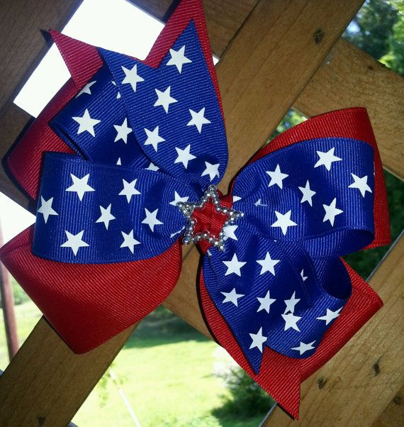 4th ofJuly Hair Bow-Stars Hair Bow/Layered Hair Bow/Patriotic Hair Bow/Memorial Day Hair Bow/Red White and Blue hair bow/boutique bow