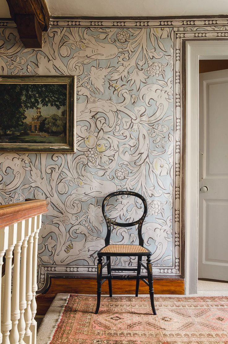 387 best country cottage entrance hall stairway landing images on a wide width wallpaper designed by melissa white inspired by elizabethan wall paintings printed with an ornate floral design in dusky