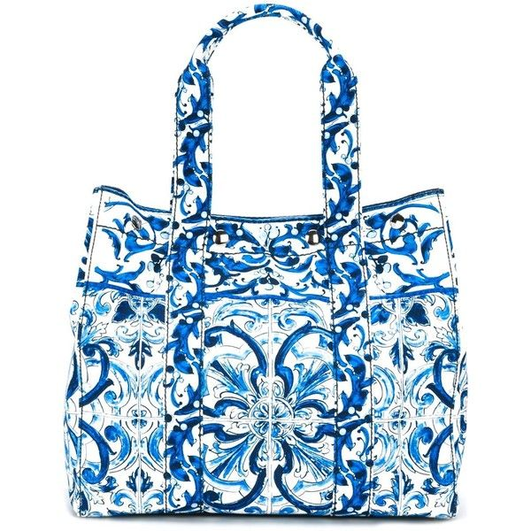 Dolce & Gabbana Majolica print tote (€825) found on Polyvore featuring bags, handbags, tote bags, blue, cotton tote, blue handbags, dolce gabbana tote, handbags totes and cotton purse