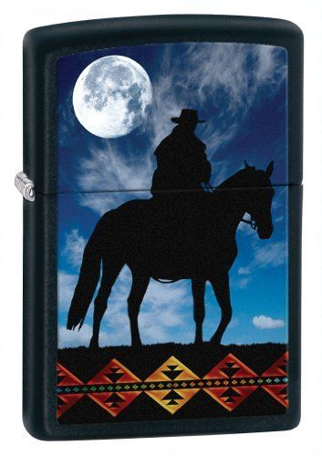 Zippo Matte Cowboy Moon Lighter (Black, 5 1/2x 3 1/2-Cm) by Zippo. Save 38 Off!. $16.66. New 2012. Brand new authentic Zippo lighter in original packaging with warranty  Size: 35mm x 55mm x 10mm Fill only with Zippo premium lighter fluid. Warranty: life-time Zippo warranty