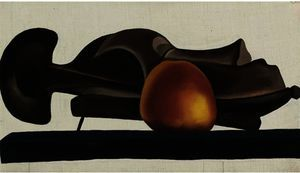Mask with golden apple - (Georgia O'keeffe)