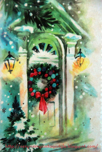 Home for Christmas love the colorsVintage Christmas Cards, The Doors, Merry Vintage, Vintage Holiday, Vintage Beautiful, Christmas Decor, Vintage Style, Vintage Syles, Vintage Cards