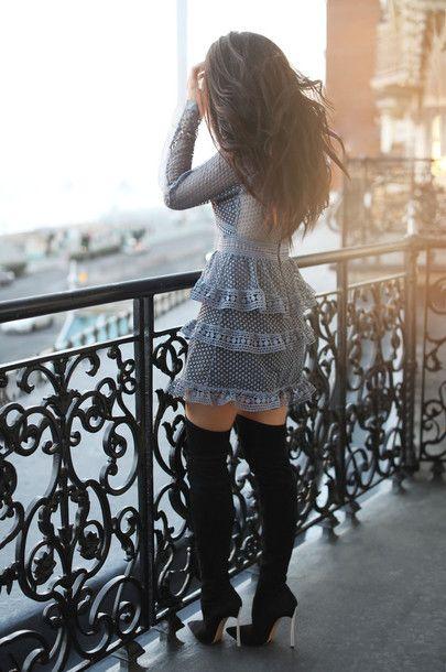 Dress: tumblr grey ruffle ruffle long sleeves long sleeve see through see through boots black boots