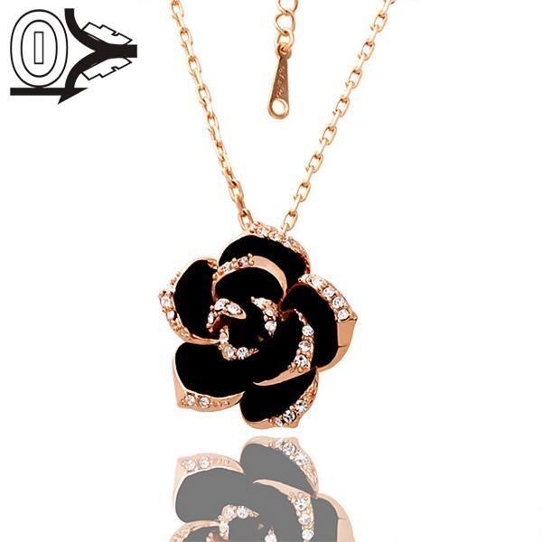 N009 Оптовая Никель Освобождает Противоаллергические Розовое Золото Любовь Цветок Ожерелье для Женщин Бесплатная Доставка
