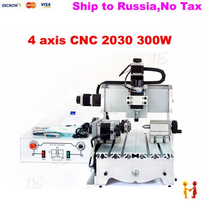 (Russain no tax!) 300W 4 axis CNC 3020 spindle motor CNC engraving machine drilling router for Acrylic Plastic Wood
